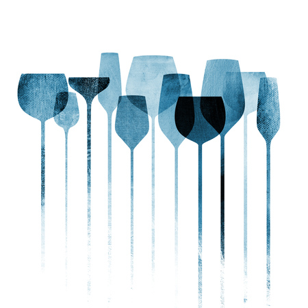 Conceptual collage artwork with paper textured party glasses, alcohol drinks for parties, bars, restaurants etc. Foto de archivo