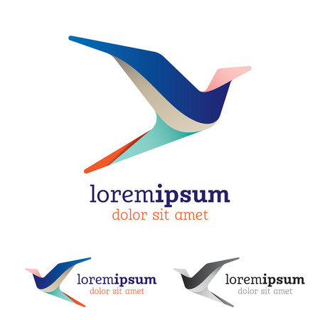 Abstract and stylized flying bird emblem, creative design element, colorful flowing layers with realistic light effect and cool color palette