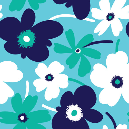 Elagant and simplistic seamless pattern design, repeating background with spring flowers for web and print use Vetores