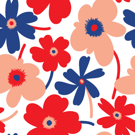 Elagant and simplistic seamless pattern design, repeating background with spring flowers for web and print use Illustration
