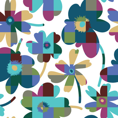 simplistic: Elagant and simplistic seamless pattern design, repeating background with spring flowers for web and print use Illustration