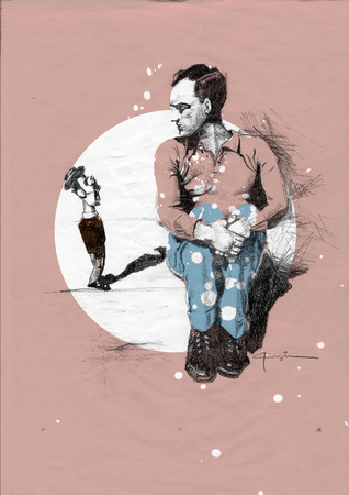 comedian: Drawing, art poster of man sitting and staring at a toy puppet