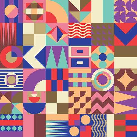 鮮やかな配色、豊かでモダンなシェイプで繰り返し背景と現代的な幾何学的なモザイク シームレス パターン表面のパターンは、web デザインし、印刷
