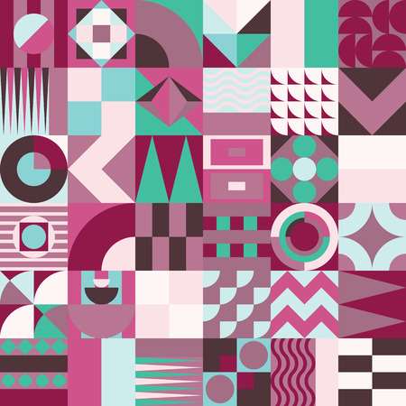 pastiche: Contemporary geometric mosaic seamless pattern with a vibrant color scheme, repeat background with rich and modern shapes, surface pattern design for web and print