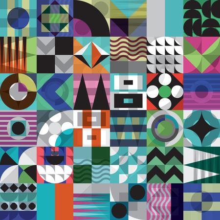 鮮やかな配色、豊かでモダンなシェイプで繰り返し背景と現代的な幾何学的なモザイク シームレス パターン表面のパターンは、web デザインし、印刷 写真素材 - 66990956