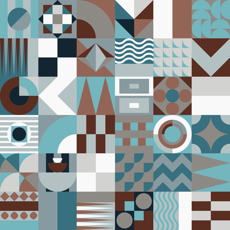 fifties: Contemporary geometric mosaic seamless pattern with a vibrant color scheme, repeat background with rich and modern shapes, surface pattern design for web and print