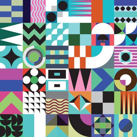 鮮やかな配色、豊かでモダンなシェイプで繰り返し背景と現代的な幾何学的なモザイク シームレス パターン表面のパターンは、web デザインし、印