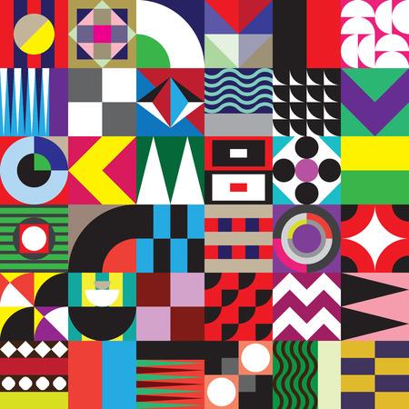 Moderne geometrische Mosaik nahtlose Muster mit einem vibrierenden Farbschema, wiederholen Hintergrund mit reichen und modernen Formen, Oberflächenmuster Design für Web und Print Standard-Bild - 66990962