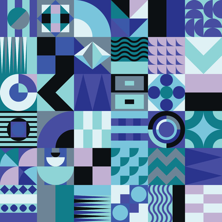indigo: Contemporary geometric mosaic seamless pattern with a vibrant color scheme, repeat background with rich and modern shapes, surface pattern design for web and print