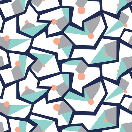 Sharp angled Memphis style modern seamless pattern design, abstract repeating background, surface pattern for web and print