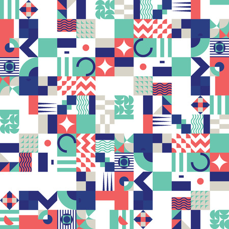 Contemporary geometric mosaic seamless pattern with a vibrant color scheme, repeat background with rich and modern shapes, surface pattern design for web and print