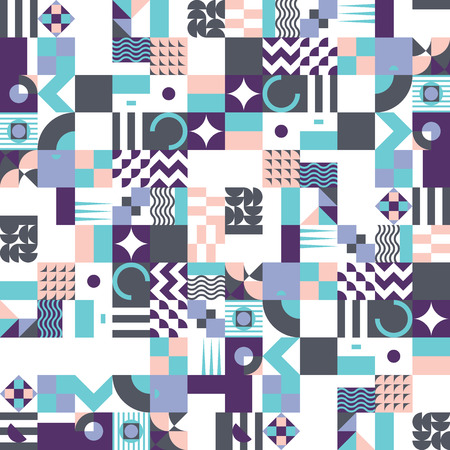 vibrant color: Contemporary geometric mosaic seamless pattern with a vibrant color scheme, repeat background with rich and modern shapes, surface pattern design for web and print