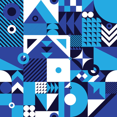 Contemporary geometric mosaic seamless pattern with a vibrant color scheme, repeat background with rich and modern shapes, surface pattern design for web and print 版權商用圖片 - 67248114