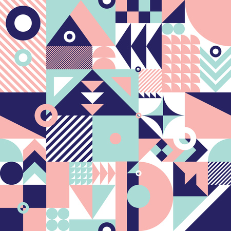 유행: 역동적 인 색상과 현대 기하학적 모자이크 원활한 패턴, 웹 및 인쇄에 대한 풍부하고 현대적인 형태와 배경, 표면 패턴 디자인을 반복
