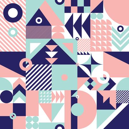 Eigentijdse geometrische mozaïek naadloze patroon met een levendige kleurenschema, herhalen achtergrond met rijke en moderne vormen, oppervlakte patroon ontwerp voor web en print Vector Illustratie