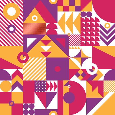 역동적 인 색상과 현대 기하학적 모자이크 원활한 패턴, 웹 및 인쇄에 대한 풍부하고 현대적인 형태와 배경, 표면 패턴 디자인을 반복