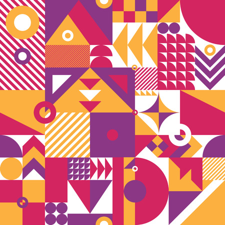 vintage patterns: Contemporary geometric mosaic seamless pattern with a vibrant color scheme, repeat background with rich and modern shapes, surface pattern design for web and print