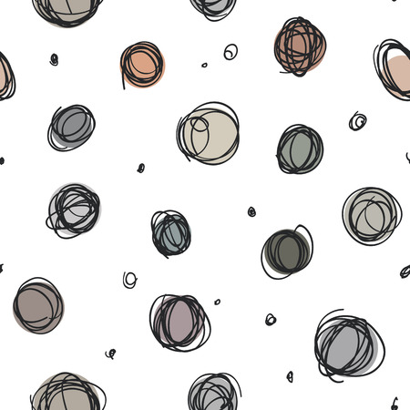 Abstract seamless pattern design with sloppy circle drawings, random doodle dots repeat background