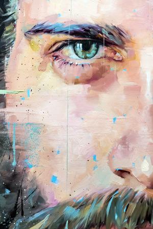 Fragmento de lienzo pintado, pintura del arte abstracto del fondo del detalle de la textura con pinceladas Foto de archivo - 74031953