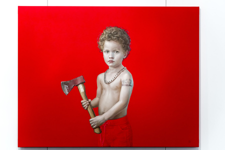 Stock Photo - Istanbul, Turkey - November 7, 2015: Piece of art at the 11th edition of the annual Contemporary Istanbul artshow held in Lutfi Kirdar Convention Center, Istanbul on November 7.