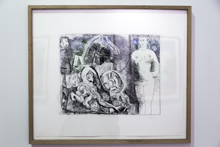 silver: Istanbul, Turkey - November 13, 2015: Piece of art displayed in 10th edition of the annual Contemporary Istanbul artshow held in Lutfi Kirdar Convention Center, Istanbul on November 13. Editorial