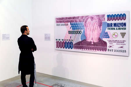 Istanbul, Turkey - November 13, 2015: Piece of art displayed in 10th edition of the annual Contemporary Istanbul artshow held in Lutfi Kirdar Convention Center, Istanbul on November 13. Editorial