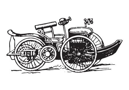 black history: vintage voiturette car Illustration