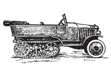 vintage autochenille or half-track car Illustration