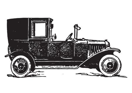 vintage car: vintage autotaxi car Illustration