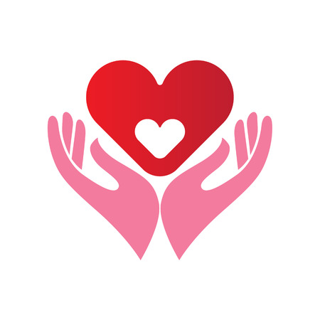 Abstract icon or emblem with two hands holding a heart within another heart, healthcare, motherhood concept Illustration