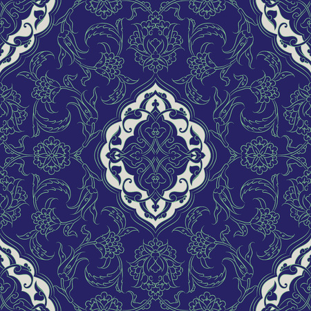 oriental pattern: Turkish Iznik tile, and seamless islamic pattern with pretty oriental curves and floral details, digital drawn symmetric tile design