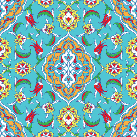 iznik: Turkish Iznik tile, and seamless islamic pattern with pretty oriental curves and floral details, digital hand drawn symmetric tile design