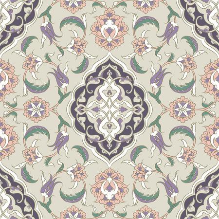 ceramica: mosaico de Iznik de Turquía, y el modelo islámico transparente con curvas orientales y bonitos y detalles florales, baldosas de diseño simétrico dibujado digitales