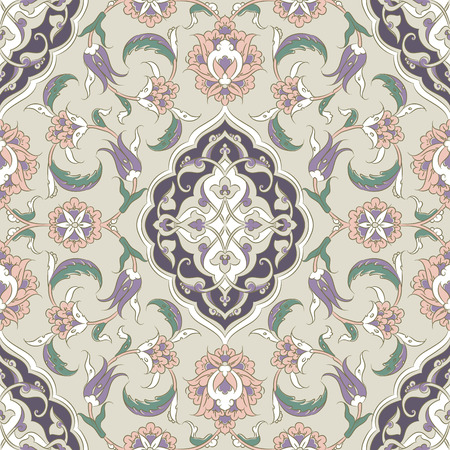 ceramic: Turkish Iznik tile, and seamless islamic pattern with pretty oriental curves and floral details, digital drawn symmetric tile design