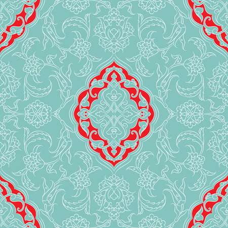 Turkish Iznik tile, and seamless islamic pattern with pretty oriental curves and floral details, digital drawn symmetric tile design