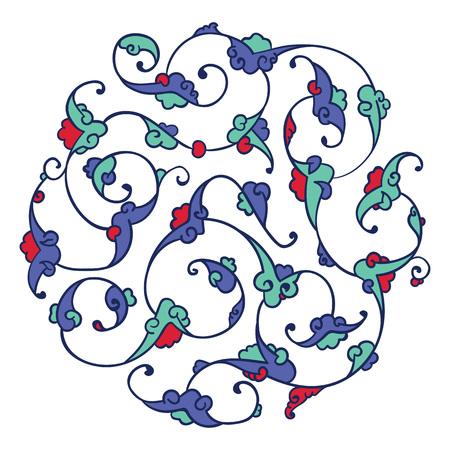 turkish: Traditional Turkish pattern design with detailed Iznik style floral motifs drawn freehand on digital tablet, elegant rumi style Islamic flourishes