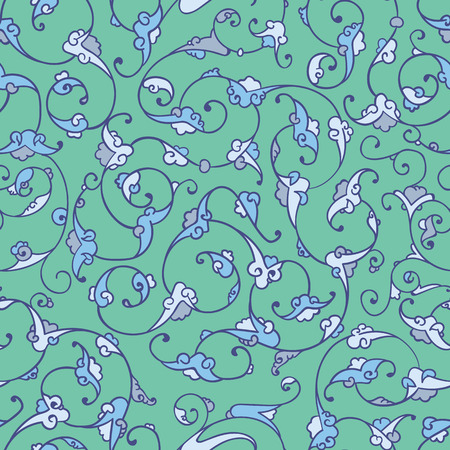 Seamless pattern design with detailed Iznik style floral motifs drawn freehand on digital tablet, elegant rumi style flourishes repeating surface pattern for web and print use.