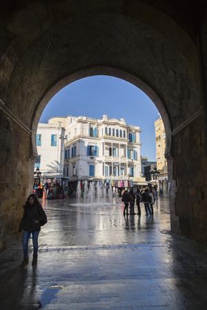 Tunis, Tunisia - December 28, 2016: Bab el Bhar or Porte de France in La Medina, the old city of Tunis, the Tunisian capital. Editorial