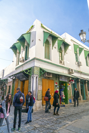 window view: View from the streets of the Medina of Tunis, Tunisia. Typical Tunisian architecture with Arab and Mediterranean influences. Editorial