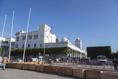 parliament square: Tunis, Tunisia - December 28, 2016: Public square of Tunis, national monument and city hall, Tunisia.