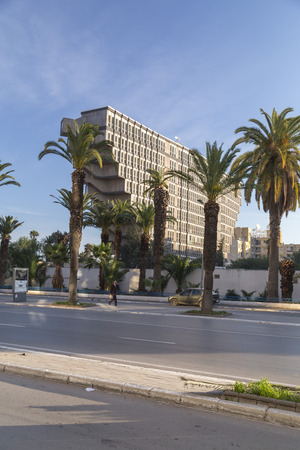 Tunis, Tunisia - December 27, 2016: Hotel du Lac building designed by the Italian architect Raffaele Contigiani in 1973. The brutalist style building was announced to be demolished.