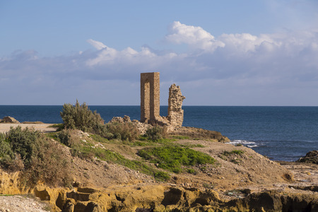 View from Mahdia city in Mahdia governorate, located by the Mediterranean coast of Tunisia.