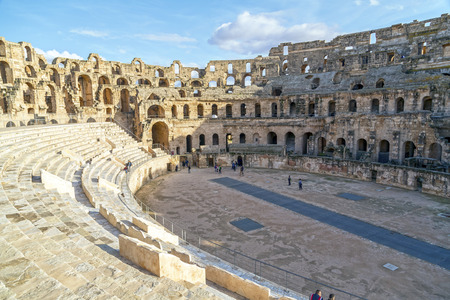 amphitheater: The Roman amphitheater of Thysdrus in El Djem (or El-Jem), a town in Mahdia governorate of Tunisia Stock Photo
