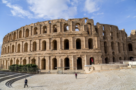 The Roman amphitheater of Thysdrus in El Djem (or El-Jem), a town in Mahdia governorate of Tunisia.