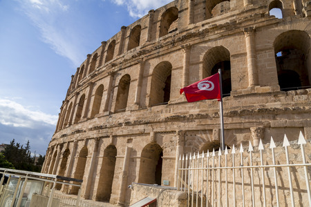 The Roman amphitheater of Thysdrus in El Djem (or El-Jem), a town in Mahdia governorate of Tunisia.The ancient structure has been a World Heritage Site since 1979.
