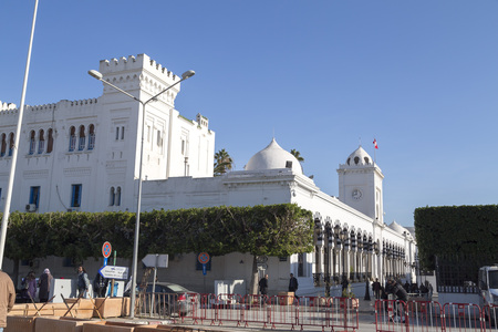 Public square of Tunis, national monument and city hall, Tunisia.