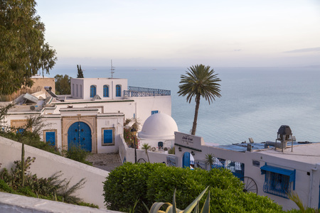 Detail from typical Tunisian architecture in Sidi Bou Said, famous touristic town near Tunis, Tunisian capital. North African Mediterranean coast.