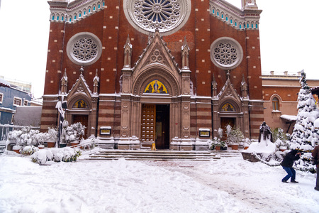 Detail from St. Antoine Church in Istanbul in winter time