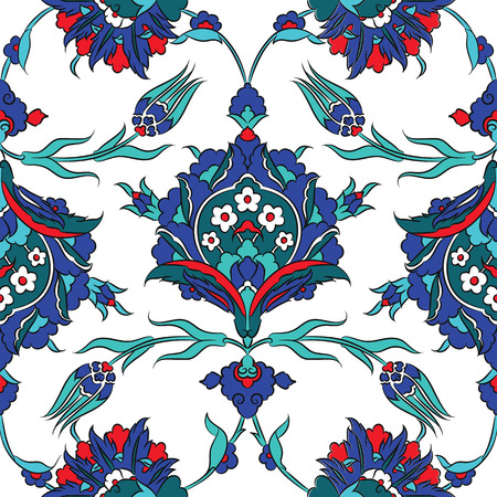 tiles: Turkish Iznik tile, vector and seamless islamic pattern with pretty oriental curves and floral details, digital hand drawn symmetric tile design