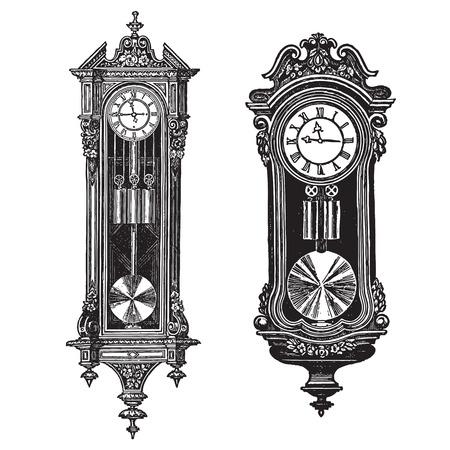 Vintage wall clocks, vector engraving set of two pieces, ornate pendulum clocks